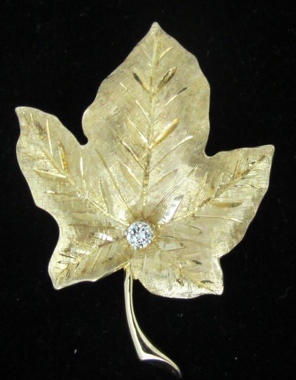 14K Diamond Leaf Brooch