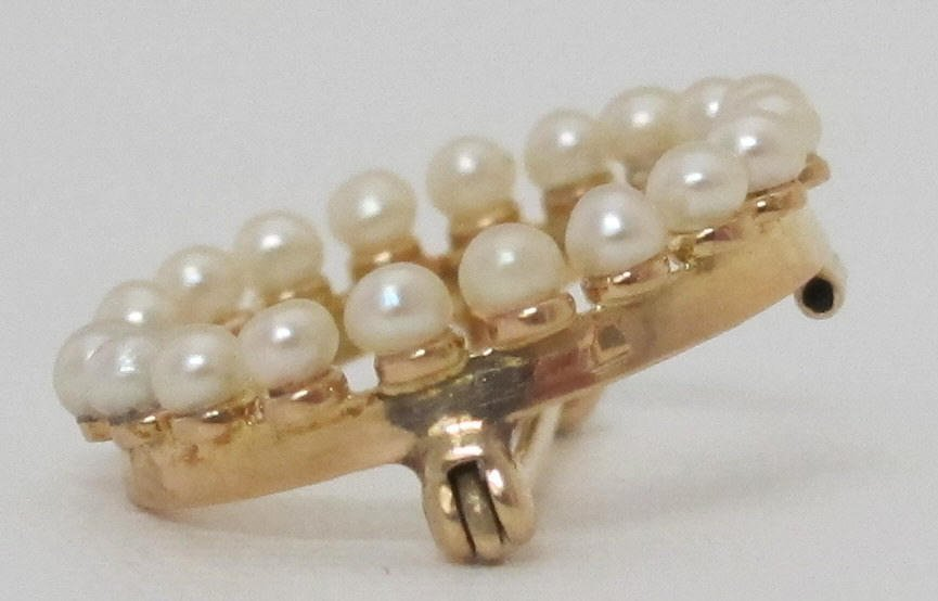 14K Yellow Gold Pearl Brooch/Pin - 3