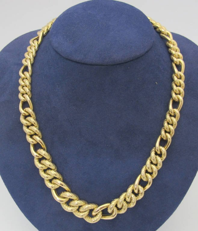 14K Curb Gold Chain Large Tapered Links