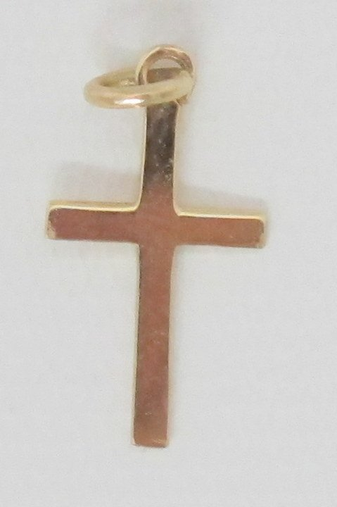 Yellow 14K Gold Cross Pendant - 2