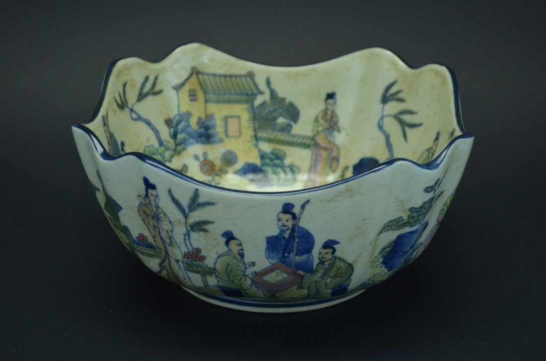 Blue and white bowl-figuers from Three Kingdom