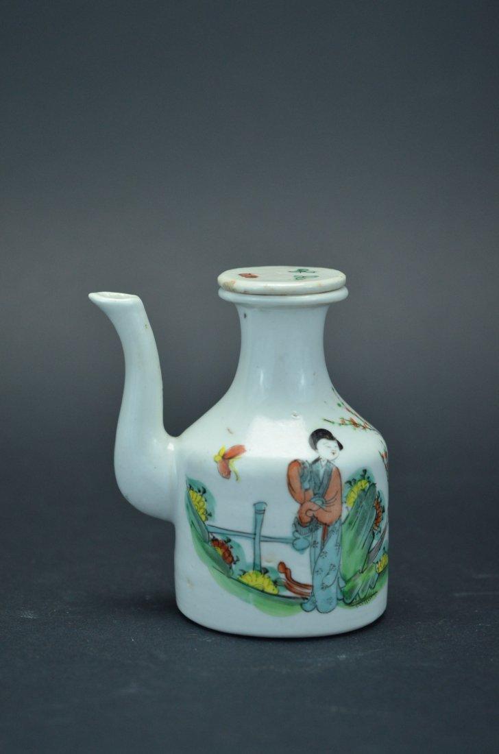 Pastel figures small pot- 19 century