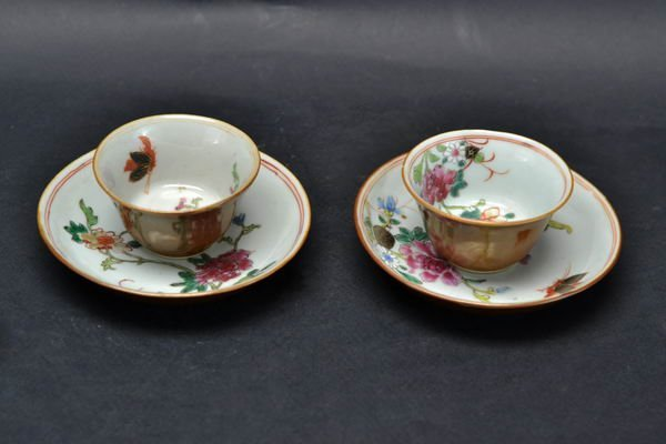 Pair of famille rose saucers- 19th century