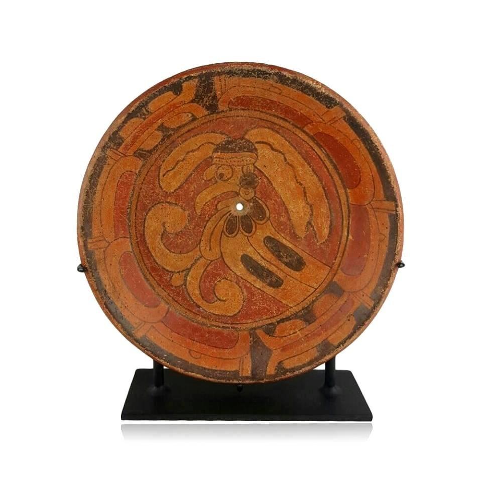 Pre-Columbian Maya Moan Bird Plate
