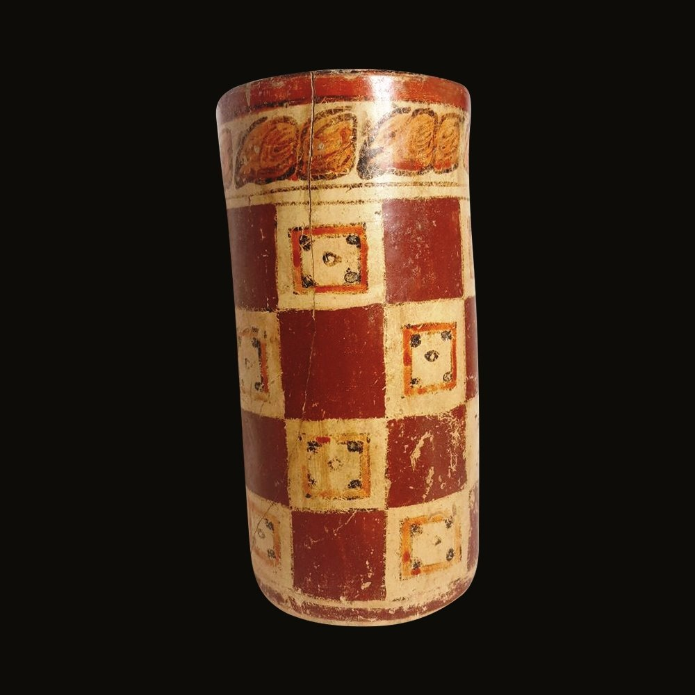 Pre-columbian Maya Polychrome Cylinder