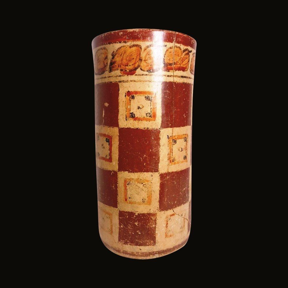 Pre-columbian Maya Polychrome Cylinder - 3