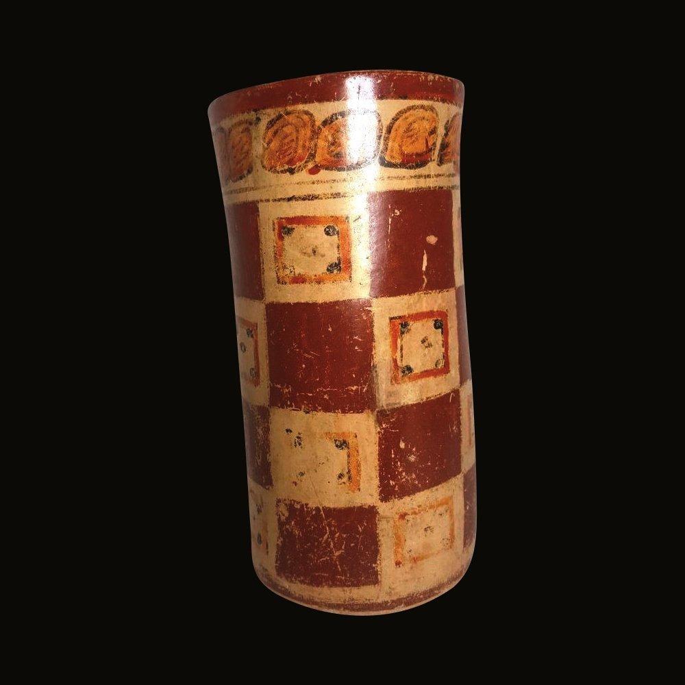 Pre-columbian Maya Polychrome Cylinder - 4