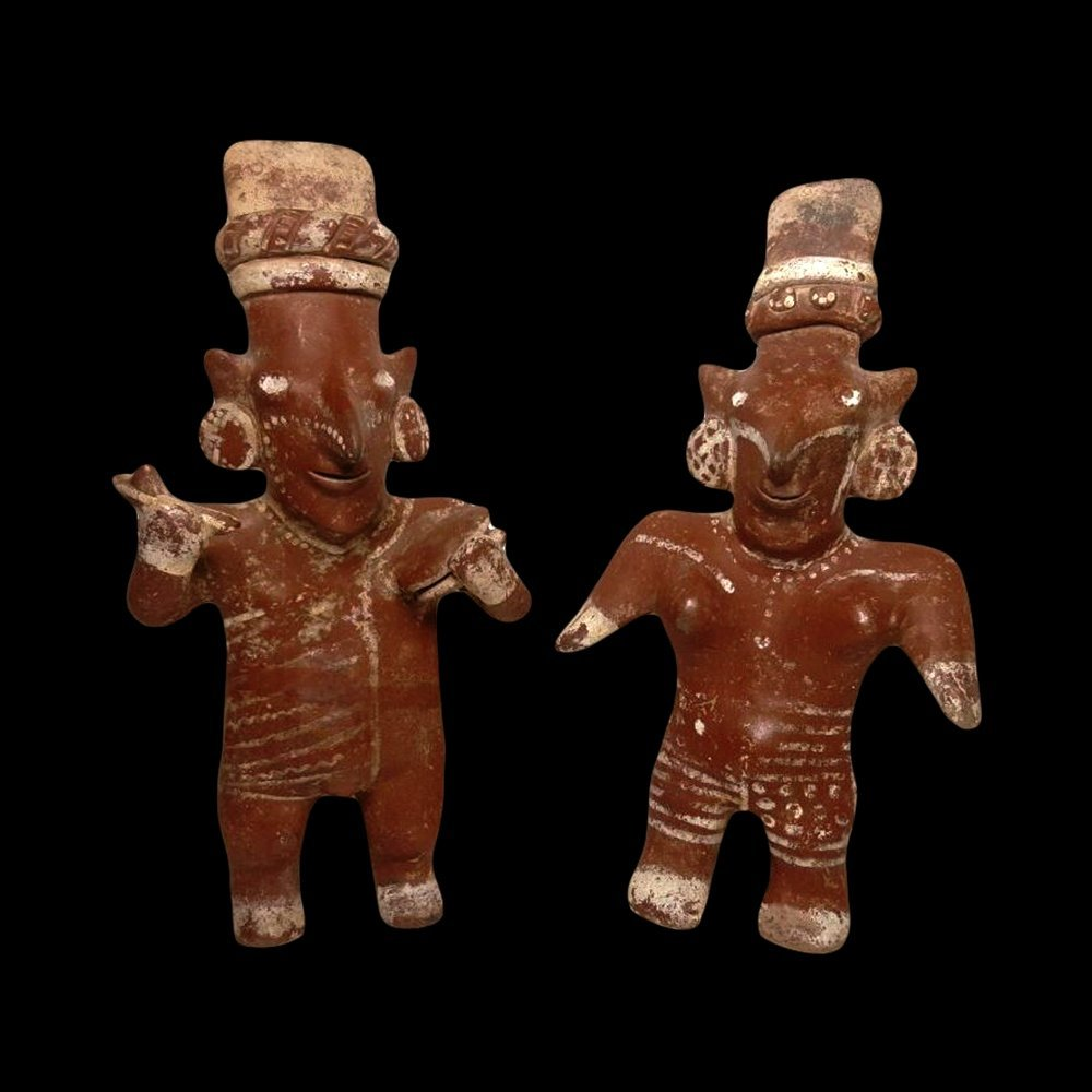 Pair of Jalisco Sheepface Pottery Figures