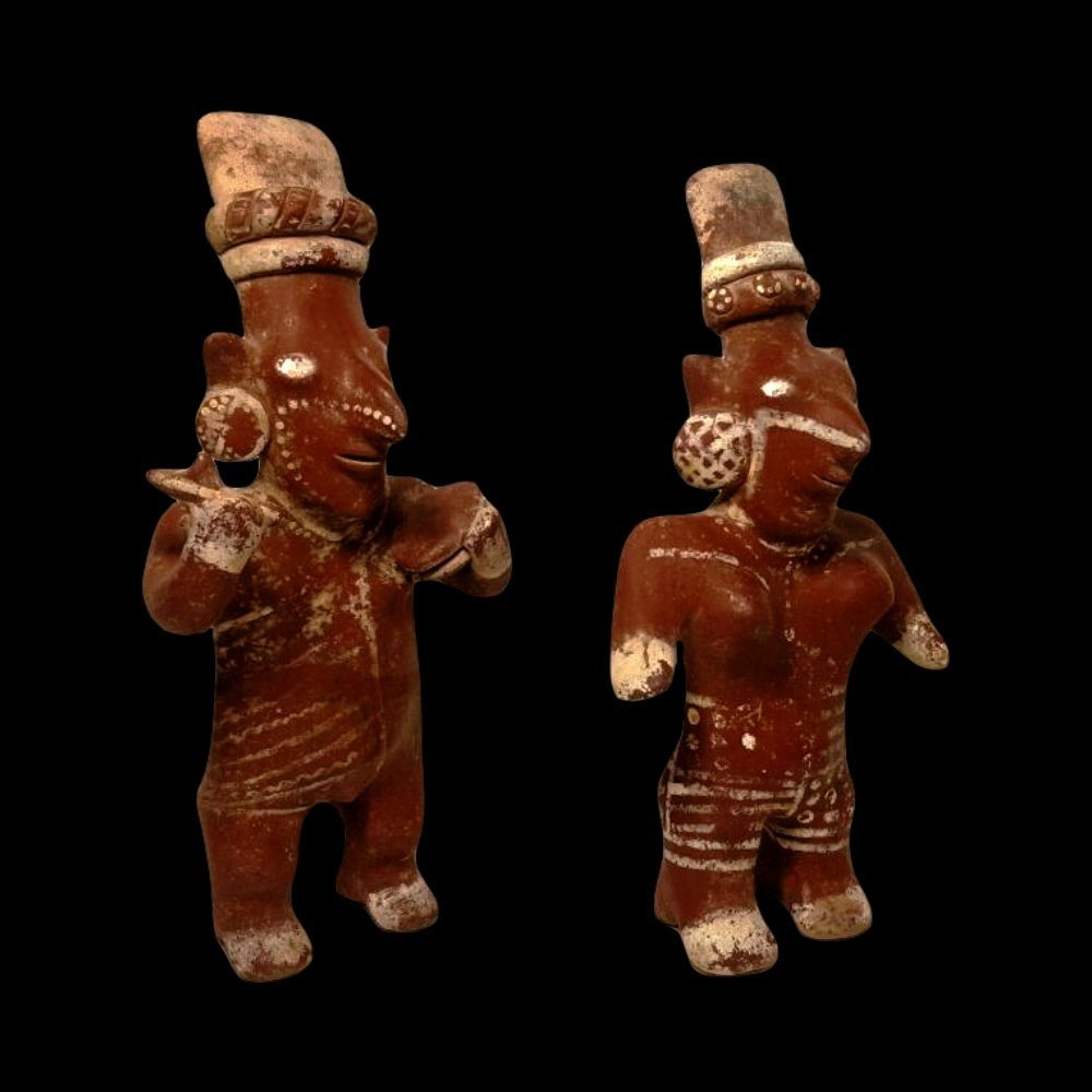 Pair of Jalisco Sheepface Pottery Figures - 2