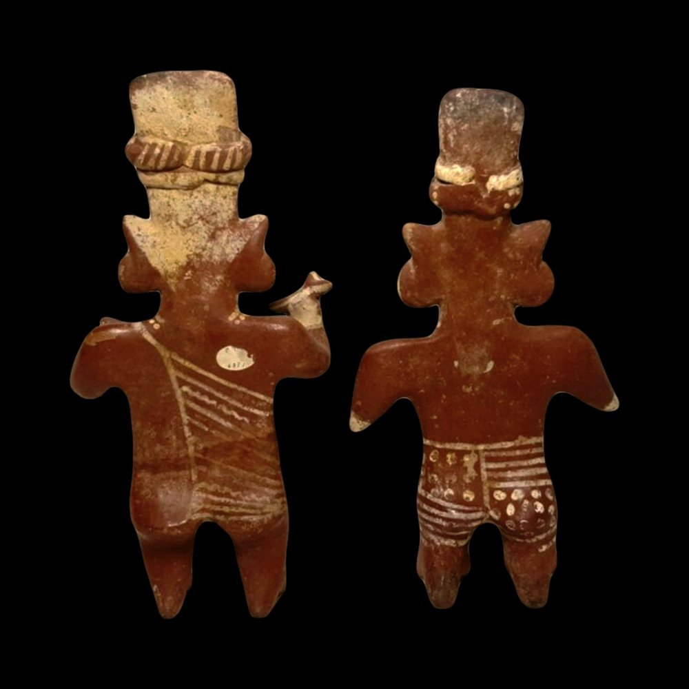 Pair of Jalisco Sheepface Pottery Figures - 3