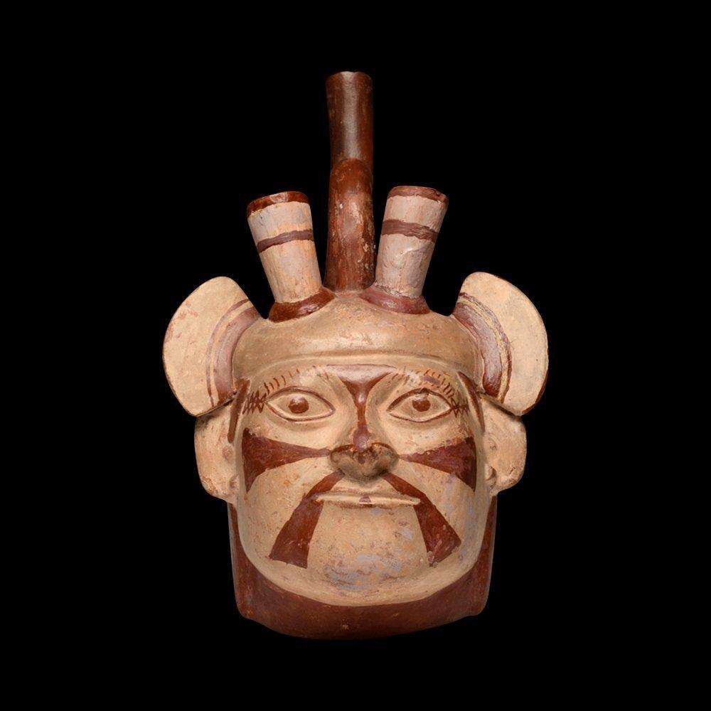 Moche Portrait Head of Dignitary Vessel