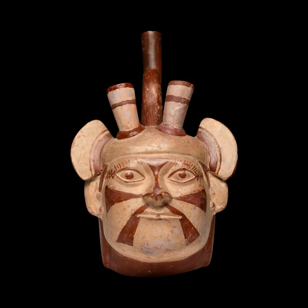 Moche Portrait Head of Dignitary Vessel