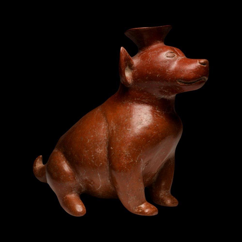Pre-Columbian Colima Redware Seated Dog