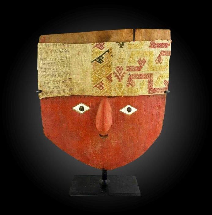 Huge Pre-Columbian Chancay Wooden Mummy Mask