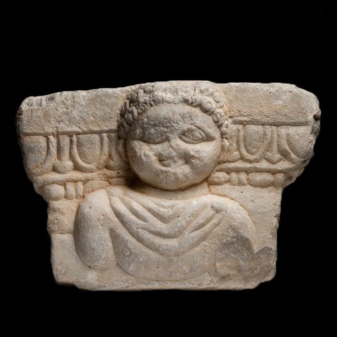 Ancient Roman Marble Stele with Bust