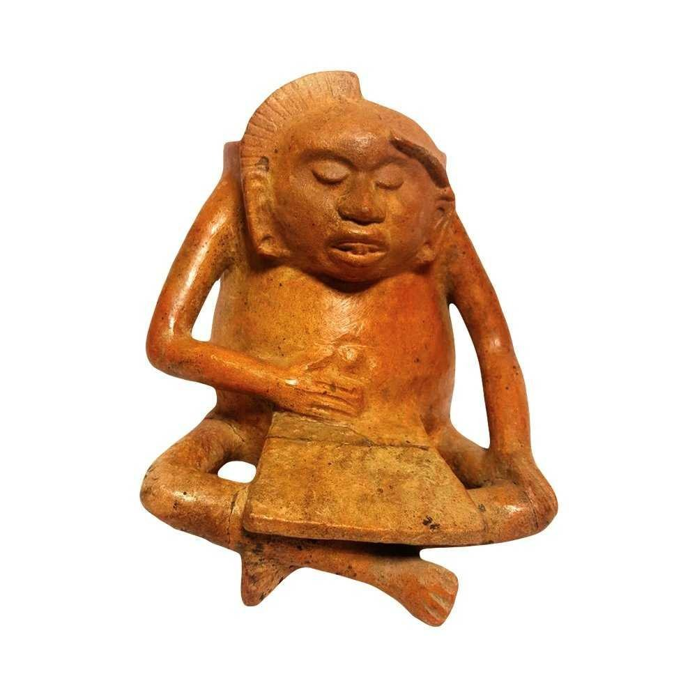 Pre-Columbian Maya Seated Figure Vessel