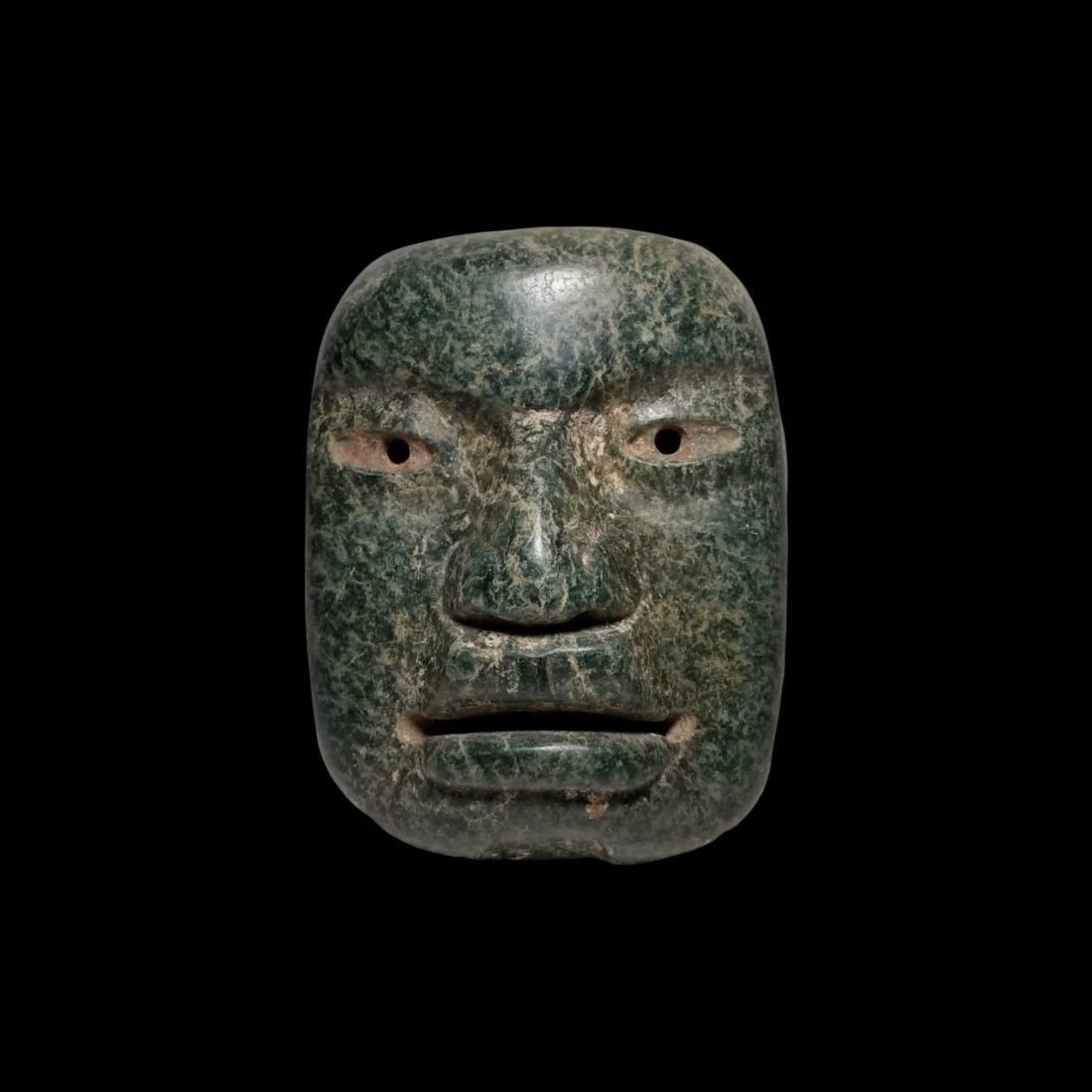 Fine PreColumbian Olmec Serpentine Funerary Mask