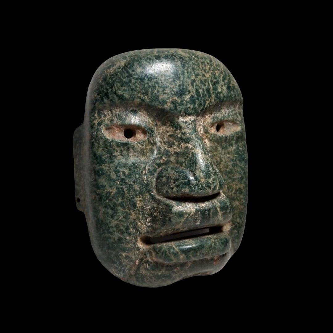 Fine PreColumbian Olmec Serpentine Funerary Mask - 2