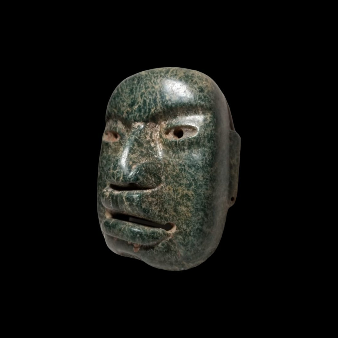 Fine PreColumbian Olmec Serpentine Funerary Mask - 4