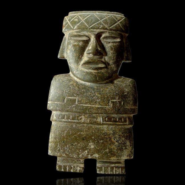 Large Pre-columbian Teotihuacan Serpentine Slab Figure