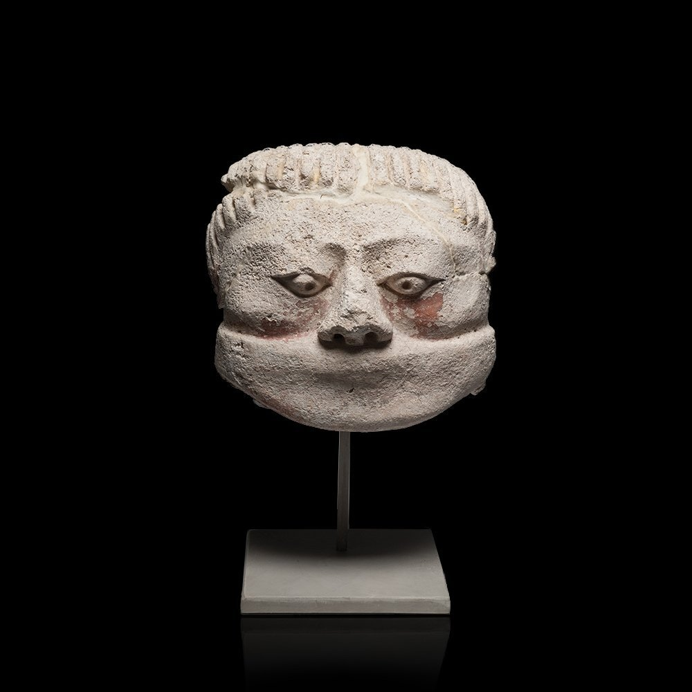 Rare Pre-columbian Maya White Stucco Head