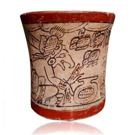 Pre-columbian Maya Fine-Line Cylinder