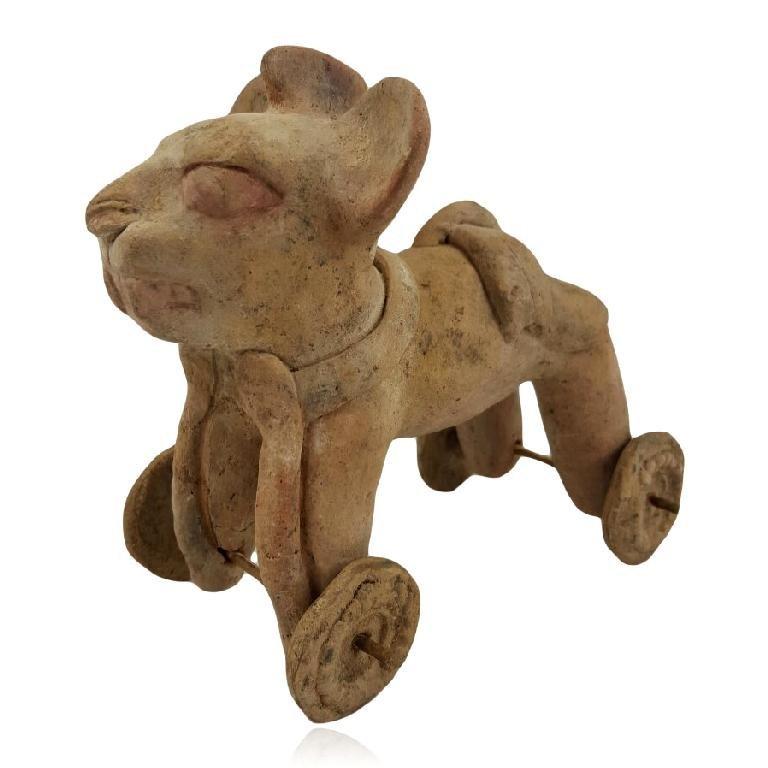 Rare Pre-columbian Maya Jaguar Pottery Toy
