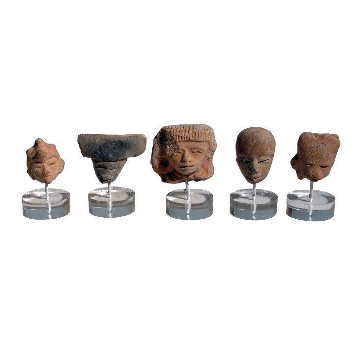 5 Pre-columbian Teotihuacan head fragments