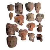 15 Large Pre-columbian Head Fragments