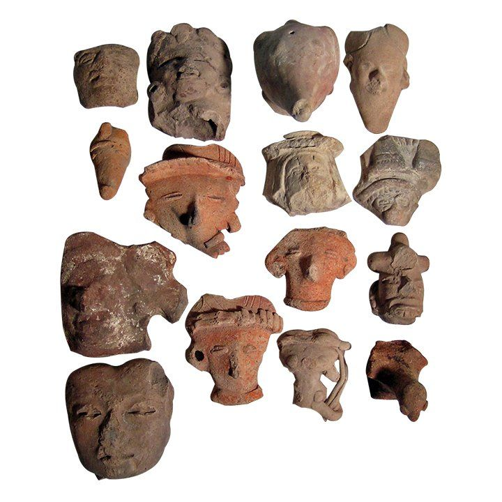 15 Large Pre-columbian Head Fragments