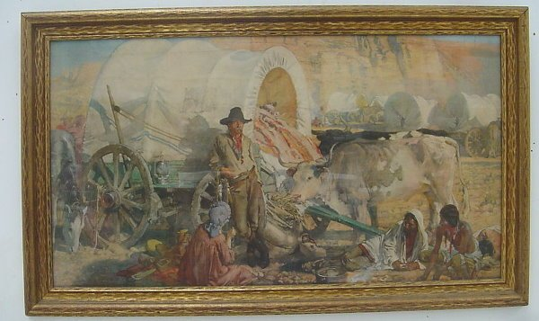 12: Large Western Wagon Train Print