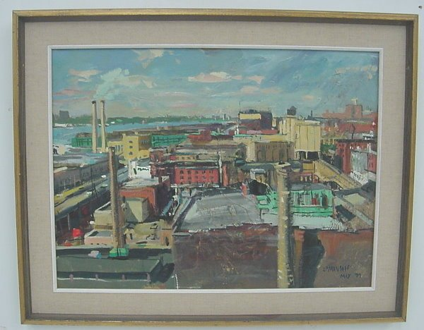 22: Painting of New York, signed John Paul Manship