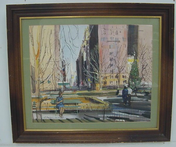 32: Painting of New York, signed John Paul Manship