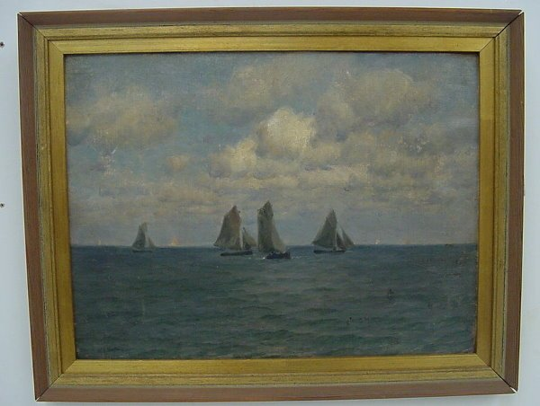 36: Oil of Fishing Boats, signed Wm Edw Norton