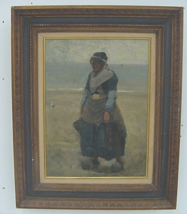 40: Oil of Peasant Woman on Beach, signed W.E. Norton