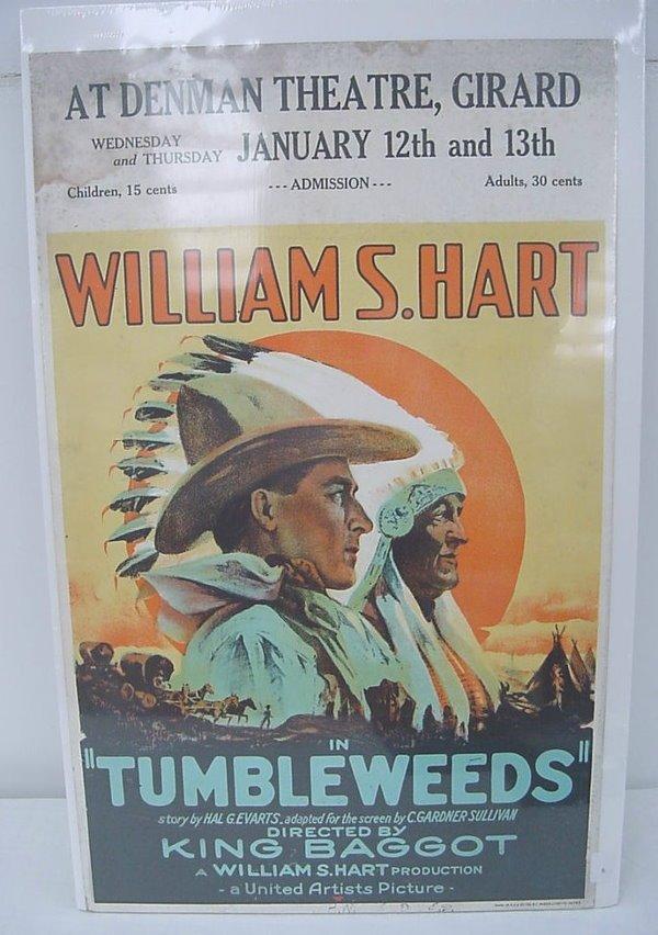 "6: Silent Movie Poster (cardboard) – Wm. S. Hart in ""Tu"