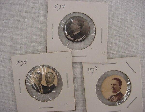 "7: (3) Roosevelt Pinbacks – 7/8"" Jugate + a portrait; +"