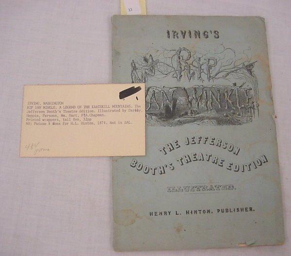 "13: Irving, Washington – ""Rip Van Winkle – A Legend of"