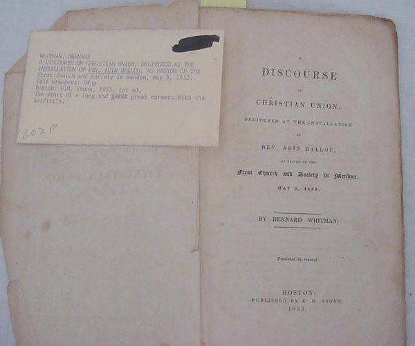 "Whitman, Bernard – ""A Discourse of Christian Union,"