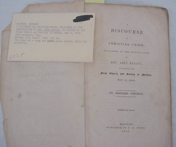 "18: Whitman, Bernard – ""A Discourse of Christian Union,"