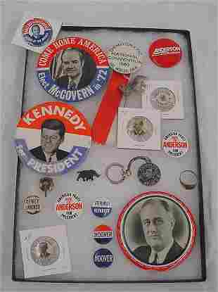 (18) Political Pieces including Hoover Ring, large