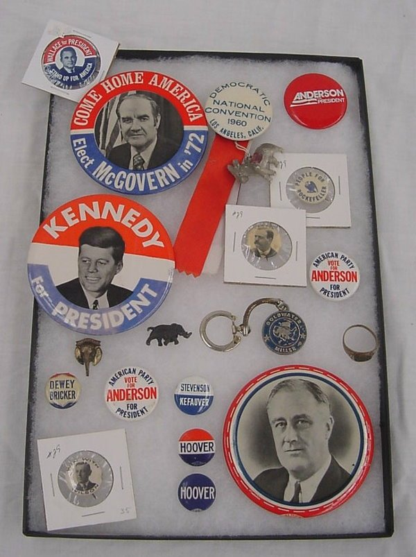 21: (18) Political Pieces including  Hoover Ring, large