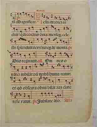 Music, Antiphol, gradual leaf printed by Luc Antoni