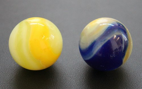 Set of 2 Vintage Akro Agate Popeye Shooter Marbles
