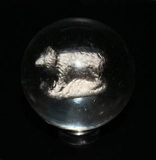 """Large Old Handmade German Sulphide Bear Marble 1.65"""""""