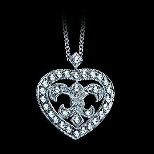 Natural 0.26 CTW Diamond Heart Fleur De Lys Necklace in