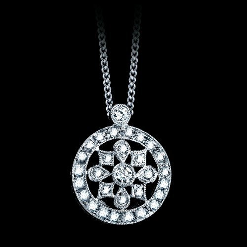 Natural 0.21 CTW Circle Diamond Pendant in 18K White