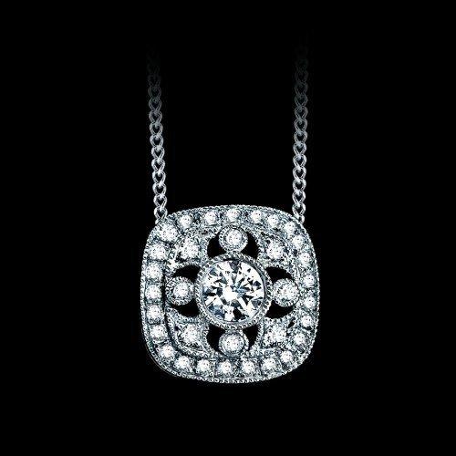 Genuine 0.42 CTW Ornate Square Diamond Pendant in 18K