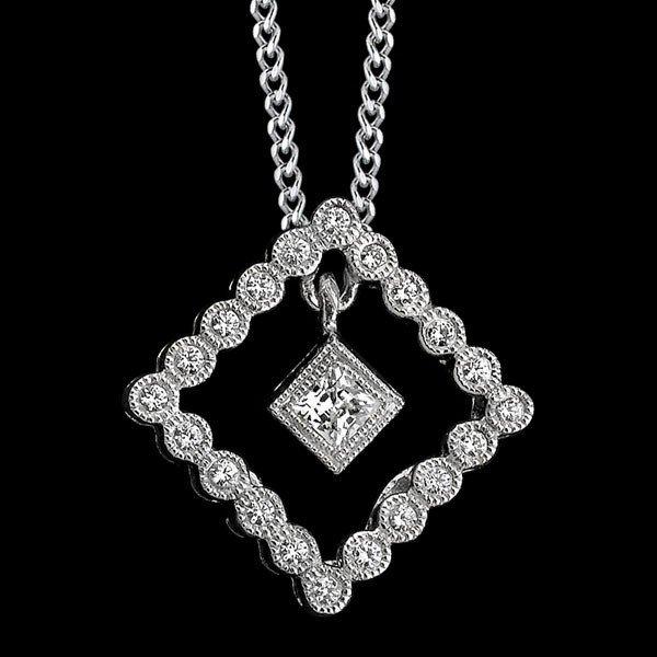 BeverleyK Diamond Pendant w/ Diamond Drop in 18K White