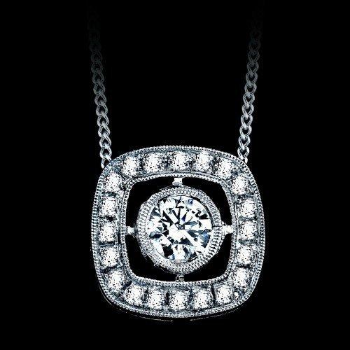 Natural 0.46 CTW Square Diamond Pendant in 18K White